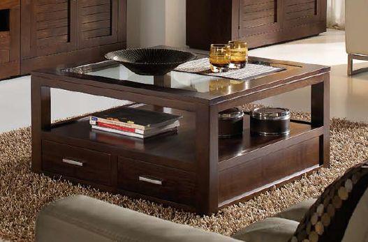 Mesa de centro 120x120 for Mesas cuadradas de madera